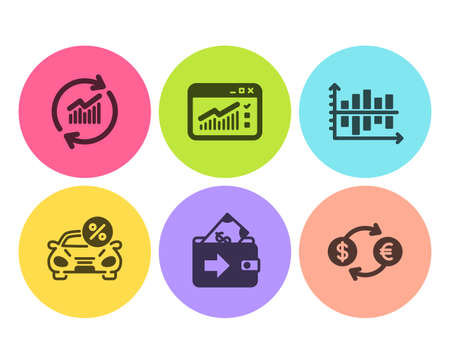 Diagram chart, Car leasing and Wallet icons simple set. Web traffic, Update data and Currency exchange signs. Presentation graph, Transport discount. Finance set. Flat diagram chart icon. Vector