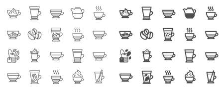 Coffee types and Tea icons. Set of Latte, Frappe and Cappuccino icons. Espresso, Doppio and Cafe Crema. Americano, Whipped cream latte and Coffee with ice. Mocha cafe, Herbal, Mint tea cups. Vector