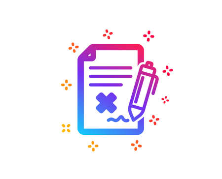 Reject file icon. Decline document sign. Delete file. Dynamic shapes. Gradient design reject file icon. Classic style. Vector