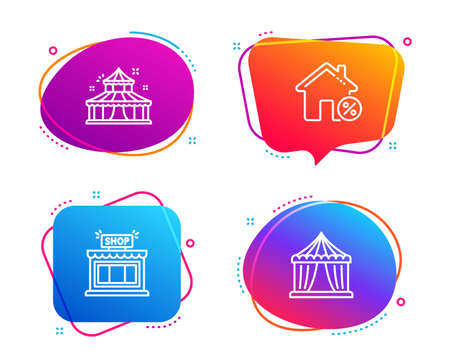Loan house, Shop and Circus icons simple set. Circus tent sign. Discount percent, Store, Attraction park. Buildings set. Speech bubble loan house icon. Colorful banners design set. Vector Stock Illustratie
