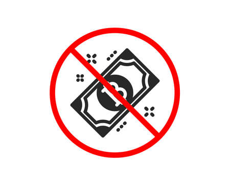 No or Stop. Bitcoin icon. Cryptocurrency cash sign. Crypto money symbol. Prohibited ban stop symbol. No bitcoin icon. Vector Ilustracja