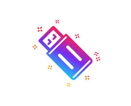 USB flash drive icon. Memory stick sign. Portable data storage symbol. Dynamic shapes. Gradient design uSB flash icon. Classic style. Vector