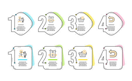 Delete purchase, Creative idea and Speakers icons simple set. Undo sign. Remove from basket, Startup, Sound. Left turn. Infographic timeline. Line delete purchase icon. 4 options or steps. Vector