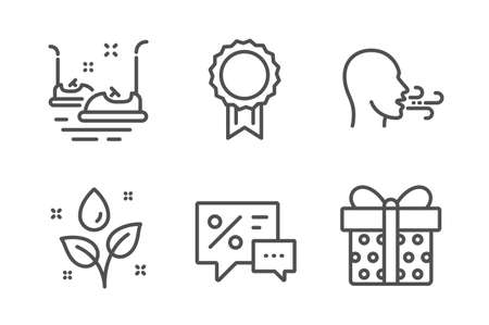 Reward, Plants watering and Breathing exercise icons simple set. Discounts, Bumper cars and Gift box signs. Best medal, Water drop. Business set. Line reward icon. Editable stroke. Vector Ilustrace