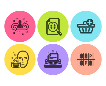 Analytics chart, Recruitment and Add purchase icons simple set. Typewriter, Face cream and Parking place signs. Report analysis, Manager change. Flat analytics chart icon. Circle button. Vector Archivio Fotografico - 123562586