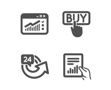 Set of Buying, 24 hours and Web traffic icons. Document sign. E-commerce shopping, Repeat, Website window. File with diagram.  Classic design buying icon. Flat design. Vector Illustration