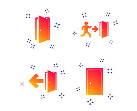 Doors icons. Emergency exit with human figure and arrow symbols. Fire exit signs. Random dynamic shapes. Gradient door icon. Vector
