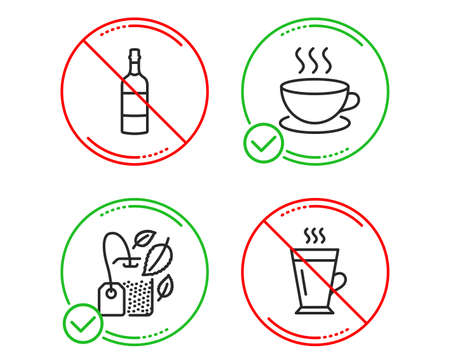 Do or Stop. Mint bag, Brandy bottle and Cappuccino icons simple set. Latte sign. Mentha tea, Whiskey, Espresso cup. Tea glass mug. Food and drink set. Line mint bag do icon. Prohibited ban stop