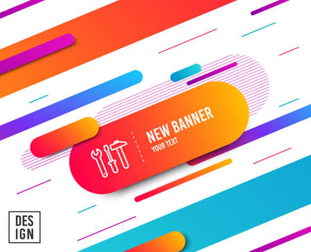 Spanner, hammer and screwdriver line icon. Repair service sign. Fix instruments symbol. Diagonal abstract banner. Linear spanner tool icon. Geometric line shapes. Vector