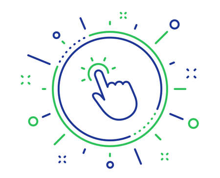 Touchpoint line icon. Click here sign. Touch technology symbol. Quality design elements. Technology touchpoint button. Editable stroke. Vector Illustration