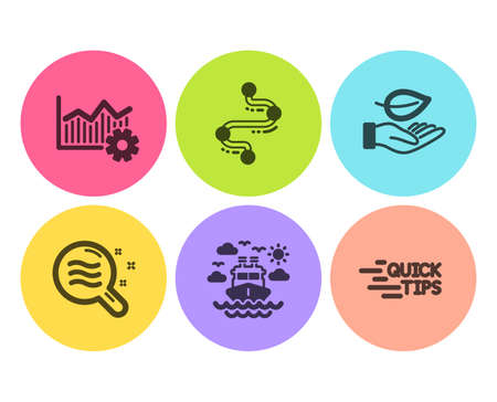 Skin condition, Ship travel and Timeline icons simple set. Leaf, Operational excellence and Education signs. Search magnifier, Cruise transport. Business set. Flat skin condition icon. Circle button