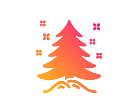 Christmas tree present icon. New year spruce sign. Fir-tree symbol. Classic flat style. Gradient christmas tree icon. Vector 스톡 콘텐츠 - 123562614