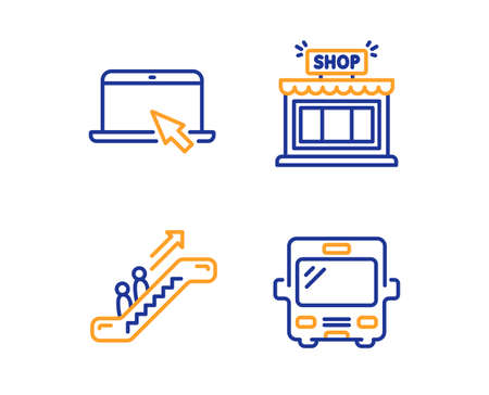 Portable computer, Escalator and Shop icons simple set. Bus sign. Notebook device, Elevator, Store. Tourism transport. Business set. Linear portable computer icon. Colorful design set. Vector