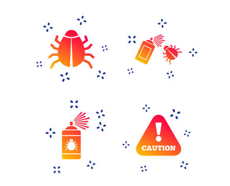Bug disinfection icons. Caution attention symbol. Insect fumigation spray sign. Random dynamic shapes. Gradient disinfection icon. Vector