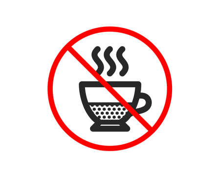 No or Stop. Doppio coffee icon. Hot drink sign. Beverage symbol. Prohibited ban stop symbol. No doppio icon. Vector Illustration
