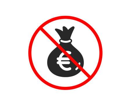 No or Stop. Money bag icon. Cash Banking currency sign. Euro or EUR symbol. Prohibited ban stop symbol. No money bag icon. Vector 版權商用圖片 - 123562624
