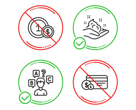Do or Stop. Quiz test, Skin care and Usd coins icons simple set. Payment method sign. Interview, Hand cream, Cash payment. Business set. Line quiz test do icon. Prohibited ban stop. Good or bad