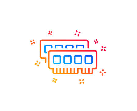 Ram line icon. Computer random-access memory component sign. Gradient design elements. Linear ram icon. Random shapes. Vector Illustration