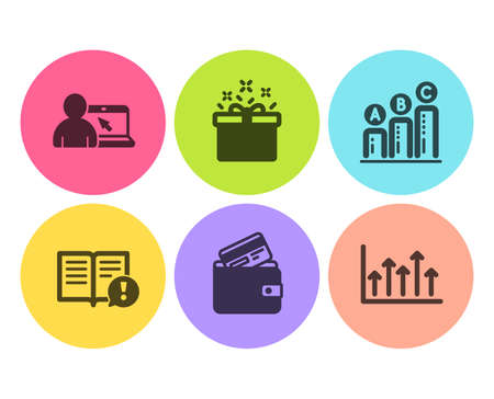 Facts, Graph chart and Online education icons simple set. Debit card, Special offer and Growth chart signs. Important information, Growth report. Business set. Flat facts icon. Circle button. Vector Foto de archivo - 120949859