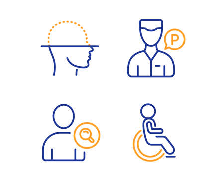 Face scanning, Find user and Valet servant icons simple set. Disabled sign. Faces detection, Search person, Parking man. Handicapped wheelchair. People set. Linear face scanning icon. Vector Illustration