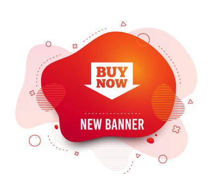 Fluid badge. Buy now sign icon. Online buying arrow button. Abstract shape. Gradient buying icon. Flyer liquid banner. Vector 일러스트