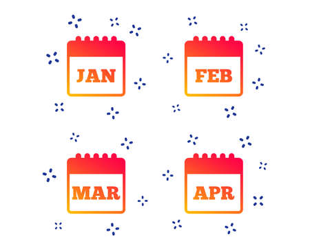Calendar icons. January, February, March and April month symbols. Date or event reminder sign. Random dynamic shapes. Gradient calendar icon. Vector