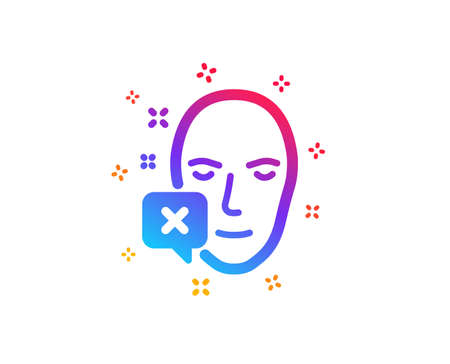 Face declined icon. Human profile sign. Facial identification error symbol. Dynamic shapes. Gradient design face declined icon. Classic style. Vector Illustration