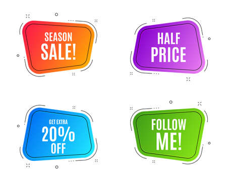 Geometric banners. Get Extra 20% off Sale. Discount offer price sign. Special offer symbol. Save 20 percentages. Follow me banner. Clearance sale. Vector Иллюстрация