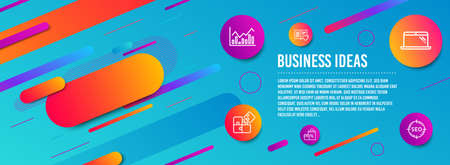Header banner. Love book, Puzzle and Infochart icons simple set. Laptop, Shopping and Seo signs. Customer feedback, Engineering strategy. Business set. Line love book icon. Gradient elements. Vector