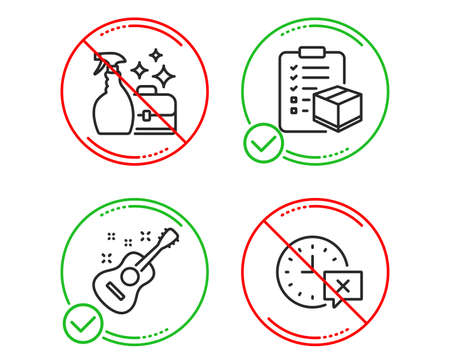 Do or Stop. Parcel checklist, Cleanser spray and Guitar icons simple set. Time sign. Logistics check, Washing liquid, Acoustic instrument. Remove alarm. Business set. Line parcel checklist do icon Illustration