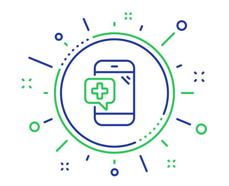 Medicine phone line icon. Mobile medical help sign. Quality design elements. Technology medical phone button. Editable stroke. Vector Banque d'images - 120729734