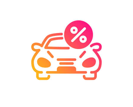Car leasing percent icon. Transport loan sign. Credit percentage symbol. Classic flat style. Gradient car leasing icon. Vector Illustration