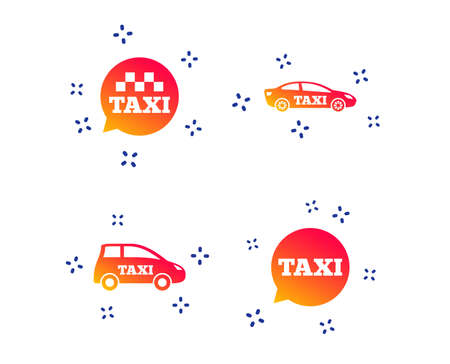 Public transport icons. Taxi speech bubble signs. Car transport symbol. Random dynamic shapes. Gradient taxi icon. Vector