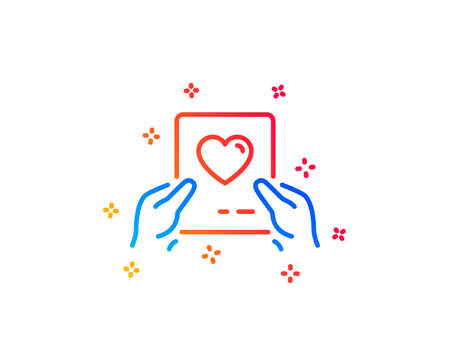 Valentines day mail line icon. Love letter symbol. Heart sign. Gradient design elements. Linear love mail icon. Random shapes. Vector Illustration