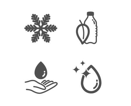 Set of Snowflake, Water care and Water bottle icons. Air conditioning, Aqua drop, Mint leaf drink. Crystal aqua.  Classic design snowflake icon. Flat design. Vector Çizim