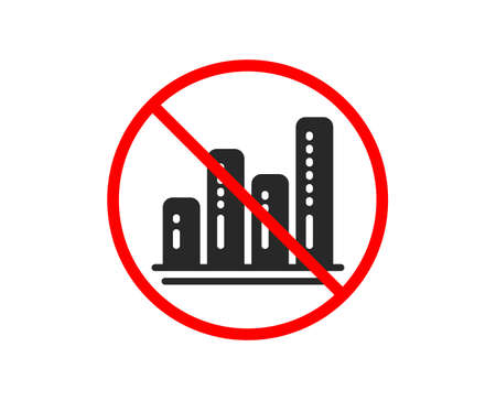 No or Stop. Graph icon. Column chart sign. Growth diagram symbol. Prohibited ban stop symbol. No graph chart icon. Vector