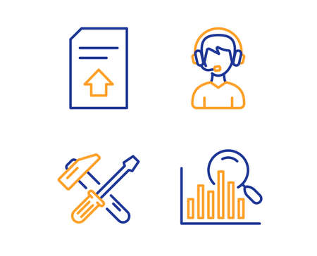 Upload file, Hammer tool and Consultant icons simple set. Search sign. Load document, Repair screwdriver, Call center. Analytics. Business set. Linear upload file icon. Colorful design set. Vector