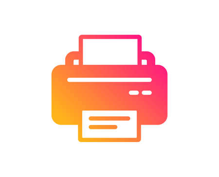 Printer icon. Printout Electronic Device sign. Office equipment symbol. Classic flat style. Gradient printer icon. Vector