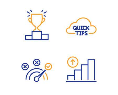 Quick tips, Winner podium and Correct answer icons simple set. Graph chart sign. Helpful tricks, Competition results, Speed symbol. Growth report. Education set. Linear quick tips icon. Vector
