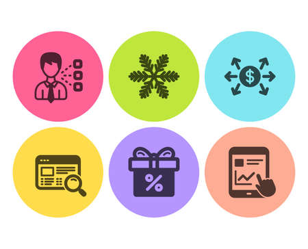 Discount offer, Dollar exchange and Snowflake icons simple set. Website search, Third party and Internet report signs. Gift box, Payment. Business set. Flat discount offer icon. Circle button. Vector Illustration
