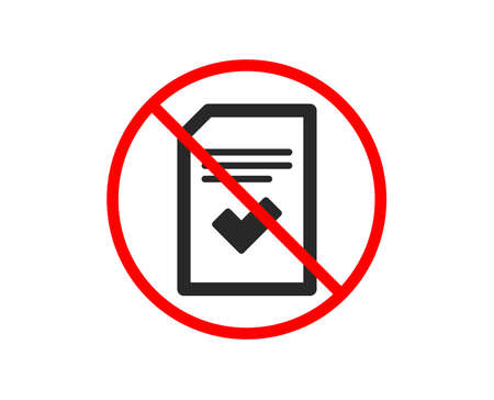 No or Stop. Checked Document icon. Information File with Check sign. Correct Paper page concept symbol. Prohibited ban stop symbol. No checked file icon. Vector Standard-Bild - 123562716