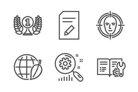 Gesichtserkennung, Dokument bearbeiten und Laureate Award Symbole einfach eingestellt Suchstatistiken, Umwelttag und technische Dokumentationsschilder. Ziel auswählen, Seite mit Bleistift. Business-Set. Vektor Vektorgrafik