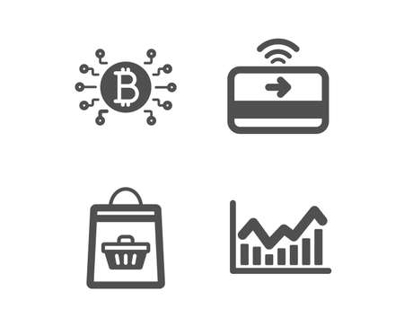 Set of Online buying, Bitcoin system and Contactless payment icons. Infochart sign. Shopping cart, Cryptocurrency scheme, Financial payment. Stock exchange.  Classic design online buying icon. Vector