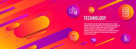 Header banner. Quick tips, Recruitment and Mail icons simple set. Certificate, Star and Phone payment signs. Helpful tricks, Manager change. Technology set. Line quick tips icon. Gradient elements