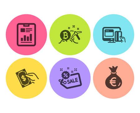 Online payment, Pay money and Bitcoin mining icons simple set. Sale, Report document and Money bag signs. Hold cash, Cryptocurrency pickaxe. Finance set. Flat online payment icon. Circle button