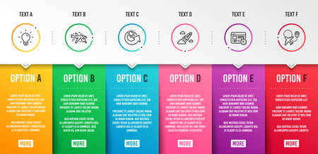Web timer, Share idea and Search flight icons simple set. Light bulb, Startup rocket and Airplane signs. Online test, Solution. Technology set. Infographic template. 6 steps timeline. Business options