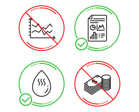 Do or Stop. Hot water, Report document and Diagram chart icons simple set. Savings sign. Aqua drop, Growth chart, Presentation graph. Finance currency. Business set. Line hot water do icon. Vector Archivio Fotografico - 123562733