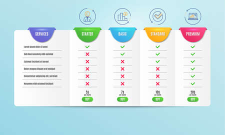 Copyrighter, Verify and Decreasing graph icons simple set. Comparison table. Graph laptop sign. Writer person, Selected choice, Crisis chart. Mobile report. Science set. Pricing plan. Vector