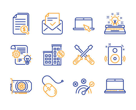 Computer mouse, Portable computer and Approved mail icons simple set. Gpu, Cogwheel and Correct answer signs. Typewriter, Financial documents and Screwdriverl symbols. Line computer mouse icon Ilustrace