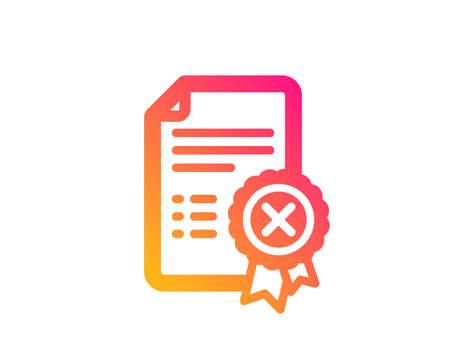 Zertifikatssymbol ablehnen. Dokumentzeichen ablehnen. Falsche Datei. Klassischer flacher Stil. Symbol für das Ablehnen von Farbverlaufszertifikaten. Vektor